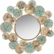 Spiegel mit Metallrahmen, türkis und goldfarben