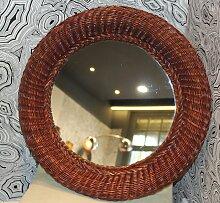 Spiegel mit Rahmen aus Korbgeflecht, 1950er