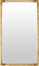 Spiegel mit Rahmen aus Mangoholz und goldfarbenem