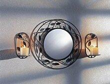 Spiegel mit zwei Kerzenhaltern für die Wandmontage, rund oder rechteckig (rund)