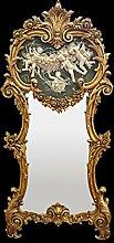 Spiegel Möbel Wandspiegel Barock Gold grün marmorierte Platte weiße Engel 3D
