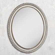 Spiegel NERINA 50x40cm silber-antik oval Barockspiegel Holzrahmen Wandspiegel