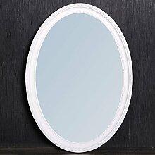 Spiegel NERINA 50x40cm weiß oval Barockspiegel Holzrahmen Wandspiegel