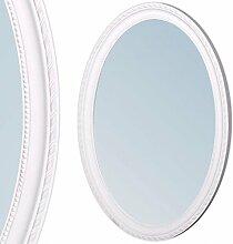 Spiegel NERINA 70x50cm weiß oval Barockspiegel Holzrahmen Wandspiegel