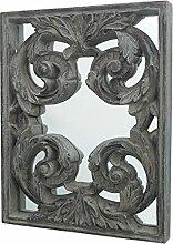 Spiegel ORNAMENT Wandspiegel | Holz braun grau | mit Schnörkeln | extravagantes Design | 37x27 cm