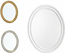 Spiegel Oval Barock Gold weiß silber Schminkspiegel Wandspiegel 37x47 Badspiegel (Silber)