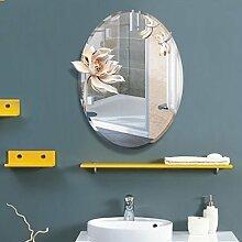 Spiegel - Ovale Wasserdicht 3D Reliefkarte Harz dekorative Spiegel Badezimmer Luxus Club Spiegel Beauty Salon Wandspiegel Einfache moderne Kunst Anti-fog-Silber Spiegel Willkommen (Farbe: klar Reim Lotus)