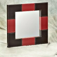 Spiegel, quadratisch, und rot PU Leder BRAUN