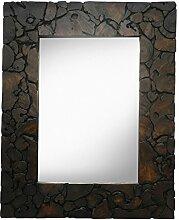 Spiegel Rahmen Antik Thailand Massiv Holzrahmen Mosaik Wandspiegel Holzspiegel Dunkelbraun ca. 80 x 100 cm