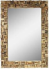 Spiegel Rahmen aus Holzstücken Thailand Massiv Holzrahmen Wandspiegel Holz-Spiegel ca. 70 x 100 cm Nr. 17