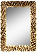 Spiegel Rahmen aus Holzstücken Thailand Massiv Holzrahmen Würfel Wandspiegel Holz-Spiegel ca. 70 x 100 cm Nr. 16
