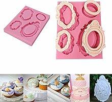 Spiegel Rahmen Form Silikon Formen Fondant Kuchen Dekoration Zucker Craft Werkzeuge Backen Werkzeug DIY