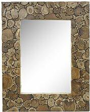 Spiegel Rahmen Holzrahmen Thailand Massiv Wandspiegel Standspiegel Tischspiegel 80 x 100 cm Holz Holzscheiben Natur Dunkel