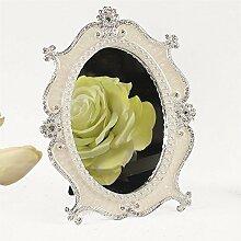 Spiegel Retro Wandspiegel Vintage Frisierspiegel Makeup Oval Aufwendig Creme