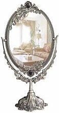 Spiegel Retro Wandspiegel Vintage Frisierspiegel Makeup Silber Oval Stand