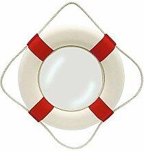 Spiegel Rettungsring, Deko Ring mit Spiegel, Stoffbezug, Rot/Weiß Ø 50 cm