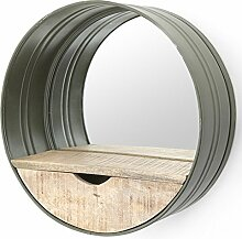 Spiegel rund Ø 40 cm Metall Holz Ablagefläche Staufach Mirror Wandspiegel (grün)