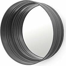 Spiegel rund Ø 40 cm Metall Mirror Wandspiegel Bad Flur Dekoration Deko (schwarz)