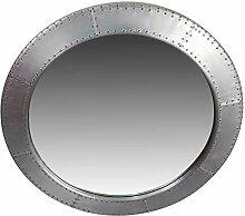 Spiegel rund Wandspiegel groß Silber Ø 90 cm Alu