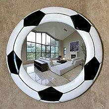 Spiegel - Runde einfach Schwarz und Weiß kreative Fußball wasserdicht Harz dekorative Spiegel Badezimmer Club Spiegel Beauty Salon Wandspiegel modernen Anti-fog-Silber Spiegel Spiegel