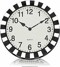 Spiegel Schwarz Und Weiß Wohnzimmer Wanduhr Mode Antike Uhren,Grey-18Inches