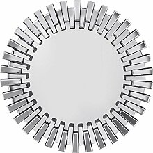 Spiegel Sprocket Ø92cm, großer, runder XXL Wandspiegel mit Silberrahmen, moderner Design Dekospiegel, (H/B/T) 92x92x4,5cm