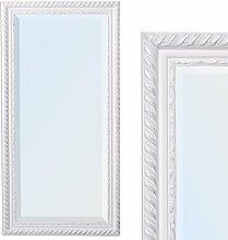 Spiegel STRIPE 100x50cm weiß-silber Design Spiegel Holzrahmen Wandspiegel