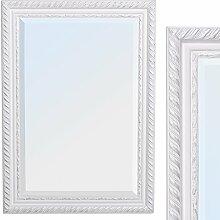 Spiegel STRIPE 70x50cm weiß-silber Design Spiegel Holzrahmen Wandspiegel barock