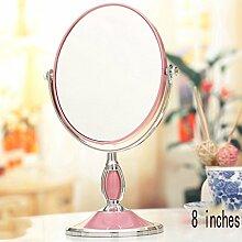 Spiegel Tischspiegel, europäischer Spiegel-doppelseitiger Dressing-Spiegel, beweglicher Prinzessin-Spiegel, 3x hochauflösendes Vergrößerungs-Tabellen-Spiegel, 8 Zoll ( Farbe : Pink )