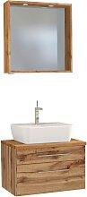 Spiegel und Waschbeckenschrank im Wildeiche Dekor