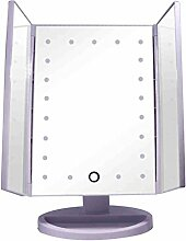 Spiegel Verfassungs-Spiegel, LED-großer Schreibtisch-Spiegel, dreifacher mehrfacher Verfassungs-Spiegel ( Farbe : Lila )