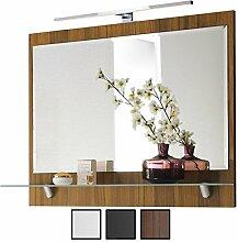 Spiegel Walnuss mit Beleuchtung LED, Breite 90 cm,