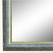 Spiegel Wandspiegel Badspiegel - Braunschweig 2,5 - Blau Grau mit Gold - 200 Größen zur Auswahl - handgefertigt - 10 x 50 - FM - Antik, Vintage