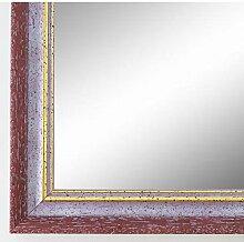 Spiegel Wandspiegel Badspiegel - Braunschweig 2,5 - Rot mit Gold - 200 Größen zur Auswahl - handgefertigt - DIN A2 (42,0 x 59,4 cm) - FM - Antik, Vintage