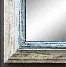 Spiegel Wandspiegel Badspiegel Flurspiegel Garderobenspiegel - Über 200 Größen - Bari Beige Weiß Blau 4,2 - Größe des Spiegelglases 100 x 130 - Wunschmaße auf Anfrage - Antik, Barock
