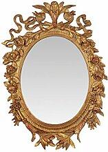 Spiegel Wandspiegel geschmackvoll verziert Gold Barock Antik 64,3x45,2cm oval