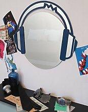 Spiegel Wandspiegel Headphones blau