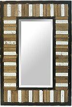Spiegel Wandspiegel Holz Holzrahmen gestreift Ethno Shabby Landhaus 90 x 60 cm