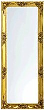 Spiegel Wandspiegel mit Facettenschliff hochwertig Gold 50x100cm Holzrahmen LENI