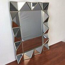 Spiegel Wandspiegel Moderne Angeschrägte Kanten Hängespiegel Silber 75x56cm