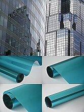Spiegelfolie Fensterfolie - Spiegel blau 150 x 152 cm - Sichtschutz Sichtschutzfolie - Chrom Spiegel - viele Farben Größen wählbar , Gebäudefolie , Sonnenschutz Folie , Spionfolie