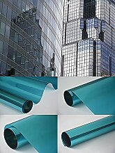 Spiegelfolie Fensterfolie - Spiegel blau 200 x 152 cm - Sichtschutz Sichtschutzfolie - Chrom Spiegel - viele Farben Größen wählbar , Gebäudefolie , Sonnenschutz Folie , Spionfolie