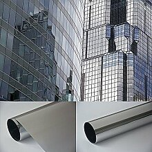 Spiegelfolie Fensterfolie - Spiegel silber 800 x 152 cm - Sichtschutz Sichtschutzfolie - Chrom Spiegel - viele Farben Größen wählbar , Gebäudefolie , Sonnenschutz Folie , Spionfolie