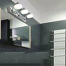 Spiegelfrontlicht Edelstahl-Doppel-Kopf / drei LED-Scheinwerfer Moderne Bad-Spiegel / Spiegel Schrank / Wandleuchte / Kosmetikspiegel (30cm-10W, 45cm-15W) Niemals rosten ( Farbe : Weißes Licht-45cm-15W )