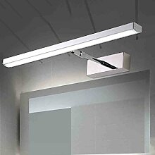 Spiegelfrontlicht Promise Dimmen LED Spiegel Vorne Lichter Modern Einfache Edelstahl Teleskop Spiegel Schrank Lichter Badezimmer Spiegel Schrank Licht Wandleuchte (45cm / 53cm) Niemals rosten ( Farbe : Weißes Licht-53CM-12W )