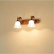 Spiegelfrontlicht Spiegel Frontleuchte Europäische Badezimmer Lichter LED Bad Bad Schrank Spiegel Lampe Schminktisch Wand Lampe Spiegel Licht wasserdicht American Wandlampe ( Farbe : D-2 head-33cm )