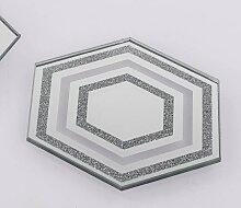 Spiegelplatte, Tischspiegel mit Glitzer 10x10cm sechseckig Formano W17 (1,50 EUR / Stück)