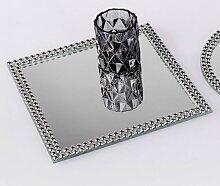 Spiegelplatte, Tischspiegel PEARLS 20x20cm quadratisch silber Glas Formano W17 (5,50 EUR / Stück)