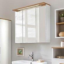 Spiegelschrank in Weiß und Eiche LED Beleuchtung