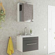 Spiegelschrank und Waschtisch in Anthrazit und